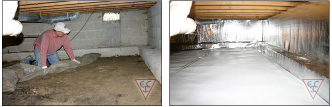 crawl space vapor barrier before and after